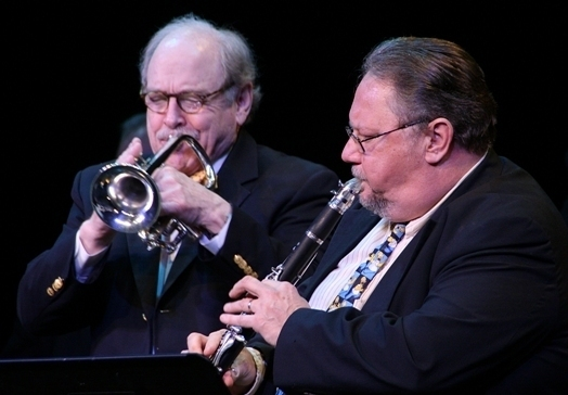 Cornetist Jim Cullum and clarinetist Allan Vaché in concert in Sarasota, Florida, 3/14