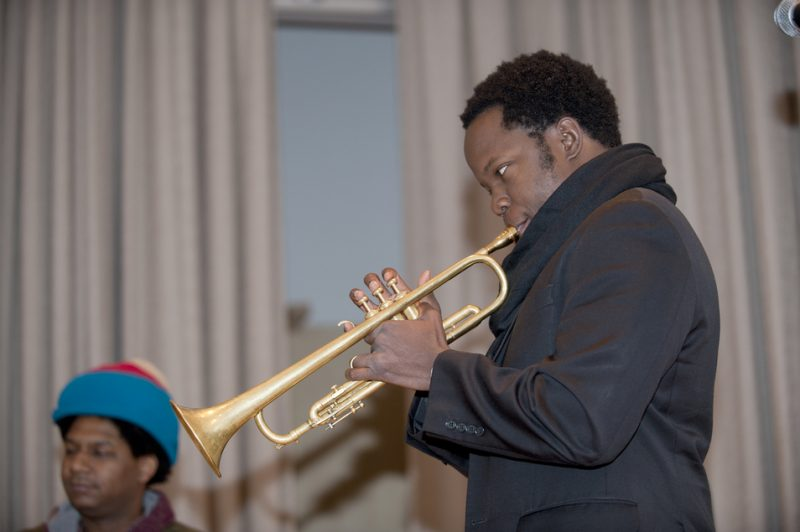 Ambrose Akinmusire in performance at the Albright-Knox Art Gallery in Buffalo on Sunday, March 23