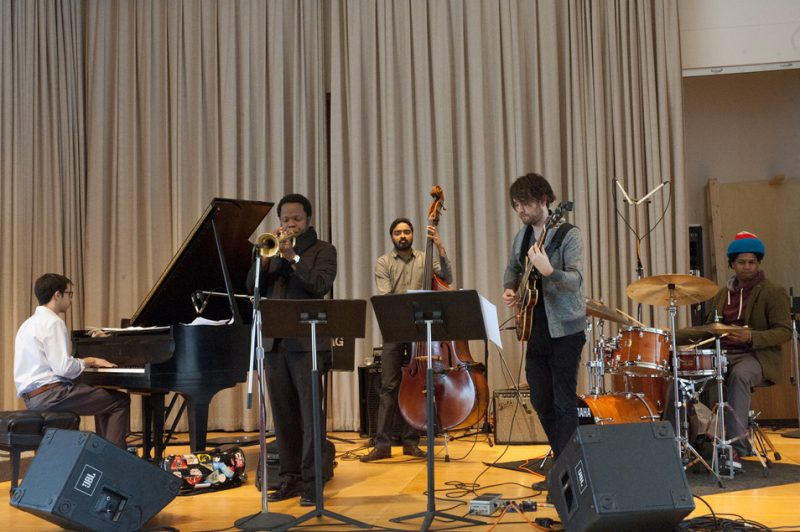 Ambrose Akinmusire and his group in performance at the Albright-Knox Art Gallery in Buffalo on Sunday, March 23