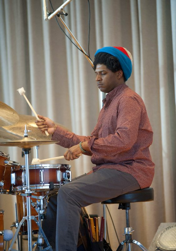 Drummer Justin Brown in performance with Ambrose Akinmusire at the Albright-Knox Art Gallery in Buffalo on Sunday, March 23