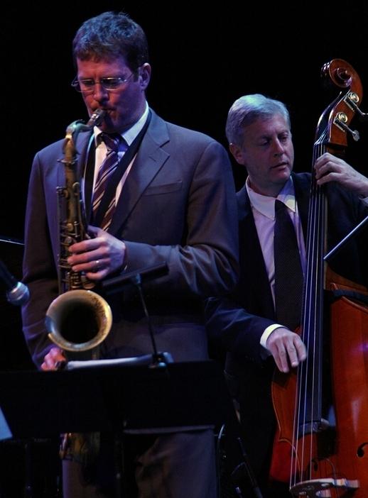 Saxophonist Eric Alexander and bassist David Finck backing singer Alexis Cole at the 2014 Sarasota (Fla.) Jazz Festival