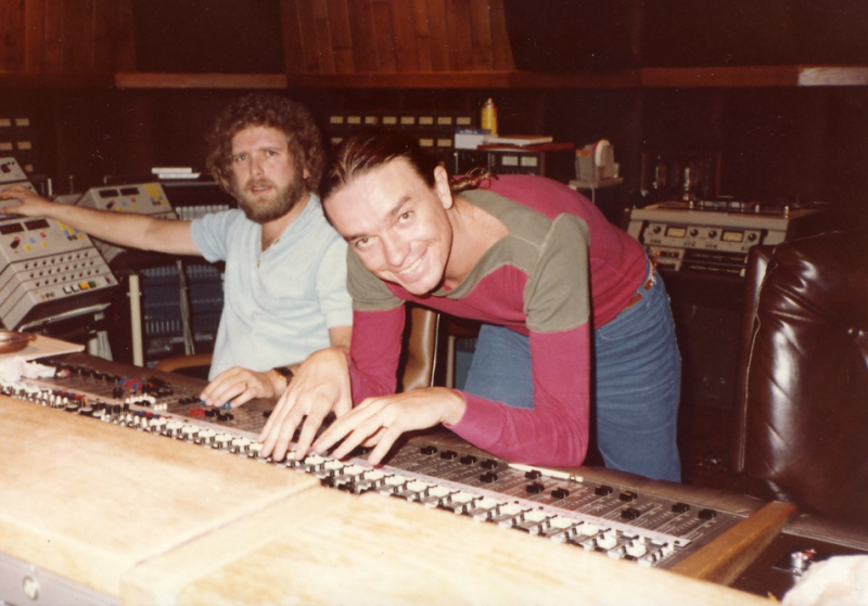 "Jaco Pastorius at the mixing board in Devonshire Studios with engineer Jerry Hudgins (deceased) during the ""Word of Mouth"" post-production sessions. Note: NO AUTOMATION. All mix moves and effects were accomplished by hand (and edits)."
