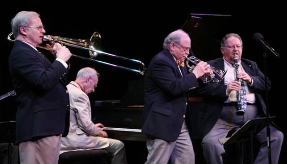 Jim Cullum Jazz Band members, from left: Mike Pittsley, John Sheridan, Jim Cullum and Allan Vaché in concert in Sarasota, Florida, 3/14