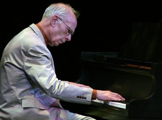 Pianist John Sheridan of the Jim Cullum Jazz Band, Sarasota, Florida, 3/14