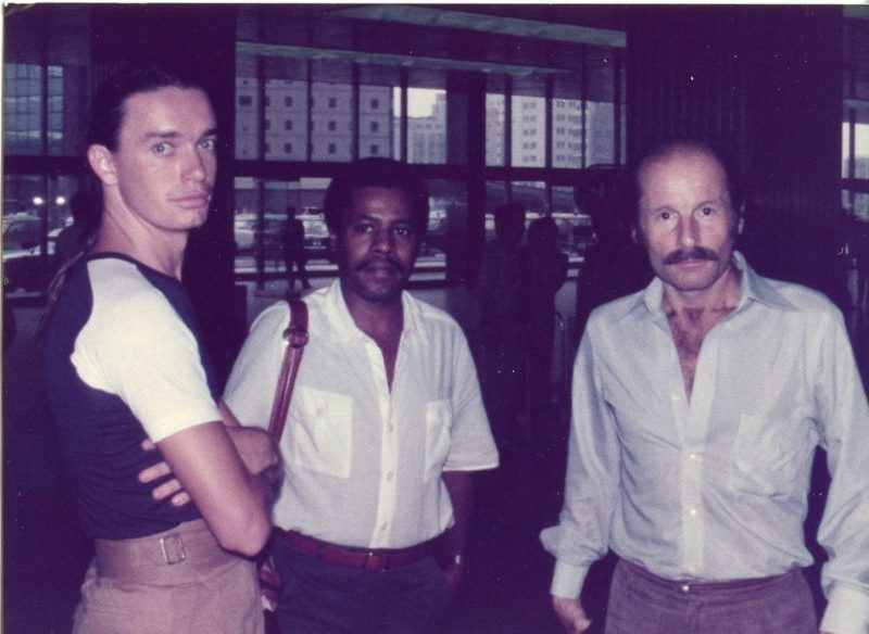 "Jaco Pastorius, Wayne Shorter & Joe Zawinul, 1978. Peter Erskine: ""I snapped this in a Shinkansen station; looks like Osaka."""