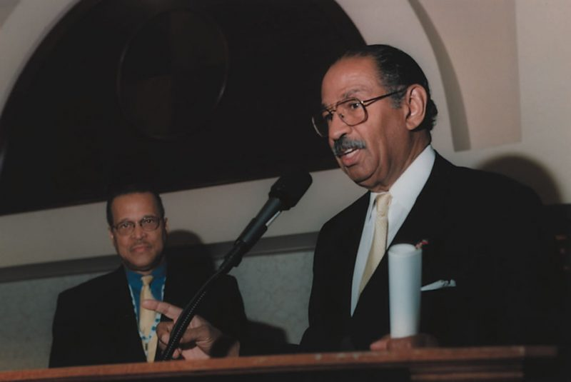 Congressman John Conyers presents the keynote address as Ed Lewis from BET on Jazz looks on at the 2000 Billboard BET on Jazz Award Show