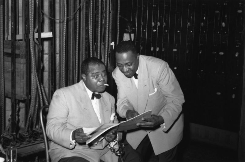 Louis Armstrong with Milt Hinton, Japan 1954