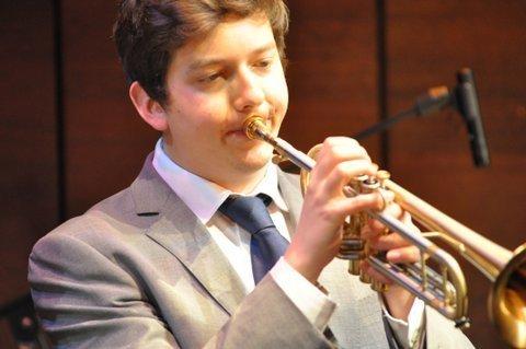Trumpeter Freddie Gavita in performance at St. James Theatre in London