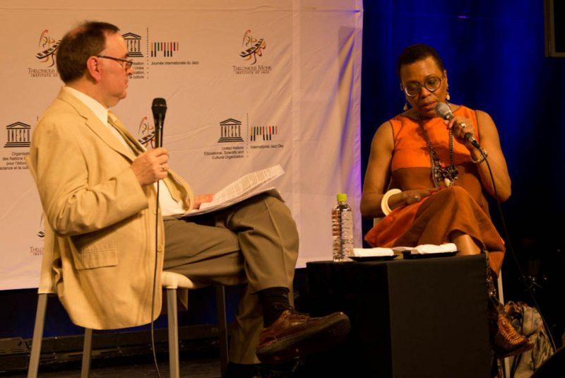 Dee Dee Bridgewater interviewed by journalist Charlie Gans, Osaka School of Music, International Jazz Day, April 30, 2014