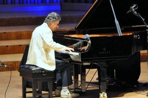Chick Corea in solo piano performance at the Barbican Centre in London