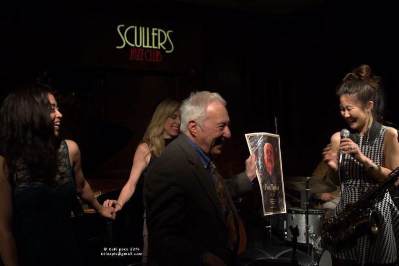Fred Taylor receiving JazzBoston's Roy Haynes Award, as Marissa Licata, Amanda Carr and Grace Kelly look on