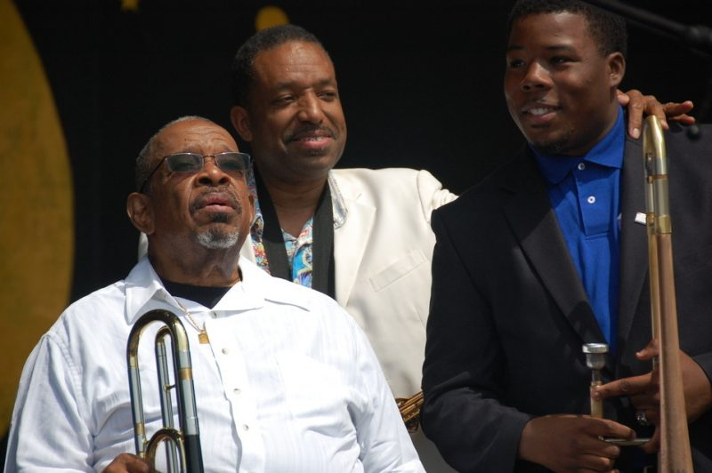 Fred Wesley, Donald Harrison Jr. and Jeffrey Miller (from left)