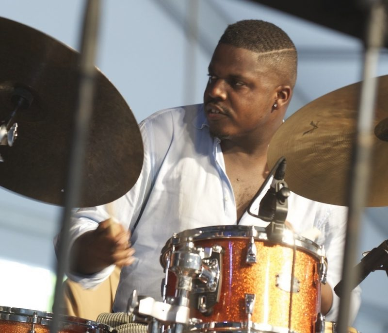 Justin Faulkner, onstage with the Branford Marsalis Quartet, at the 2014 New Orleans Jazz & Heritage Festival