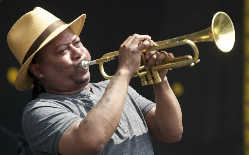 Kermit Ruffins onstage at the 2014 New Orleans Jazz & Heritage Festival