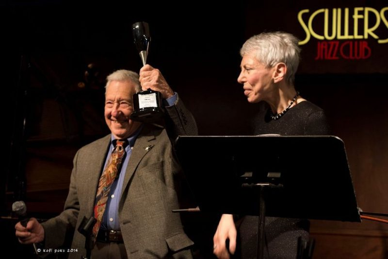 Fred Taylor receiving JazzBoston's Roy Haynes Award from Pauline Bilsky