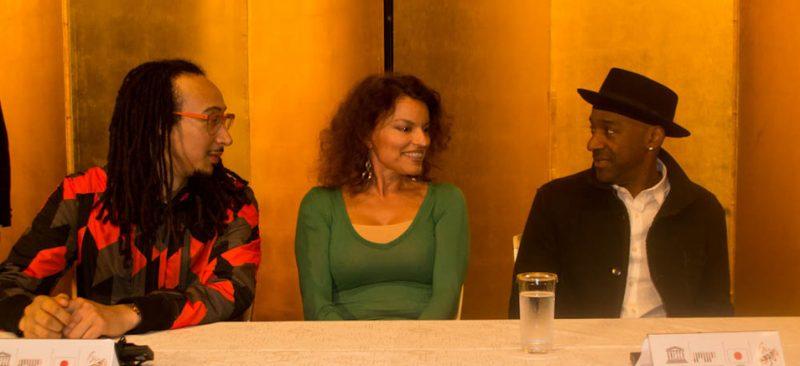 Theo Croker, Roberta Gambarini,Marcus Miller,  International Jazz Day press conference, Osaka, Japan, April 30, 2014