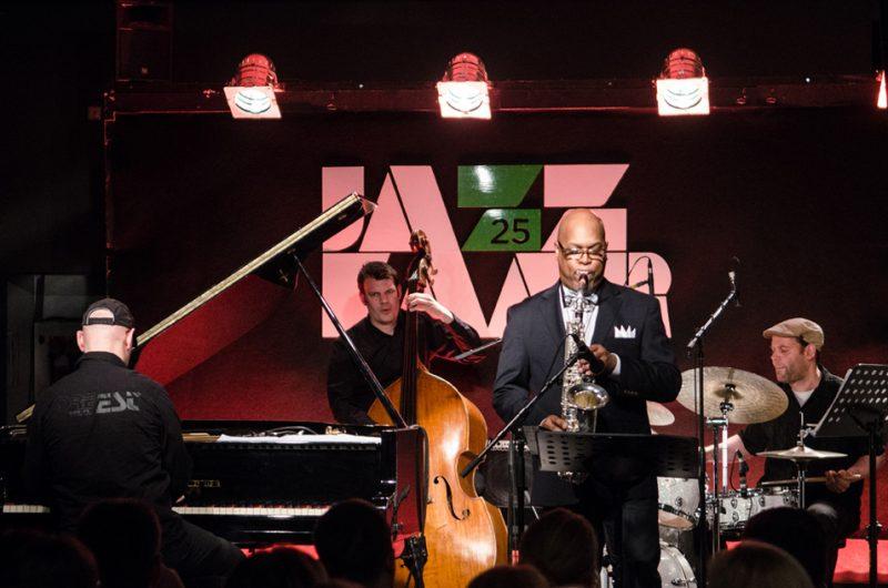 Michael Arbenz, Christian Wendt, Greg Osby, Florian Arbenz. NO99 Jazz Club, Jazzkaar, Estonia, April 2014