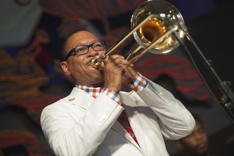 Delfeayo Marsalis onstage at the 2014 New Orleans Jazz & Heritage Festival