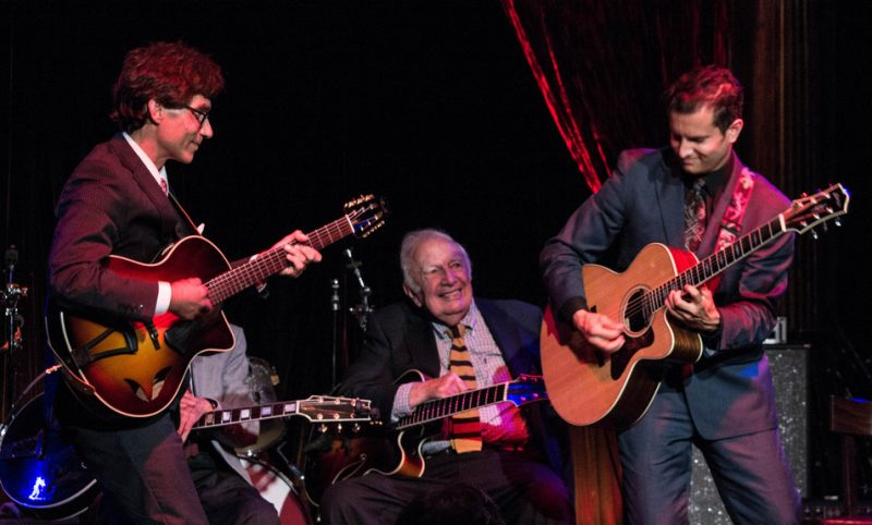 Frank Vignola and Vinny Raniolo, with Bucky Pizzarelli looking on, The Cutting Room, NYC 6-14