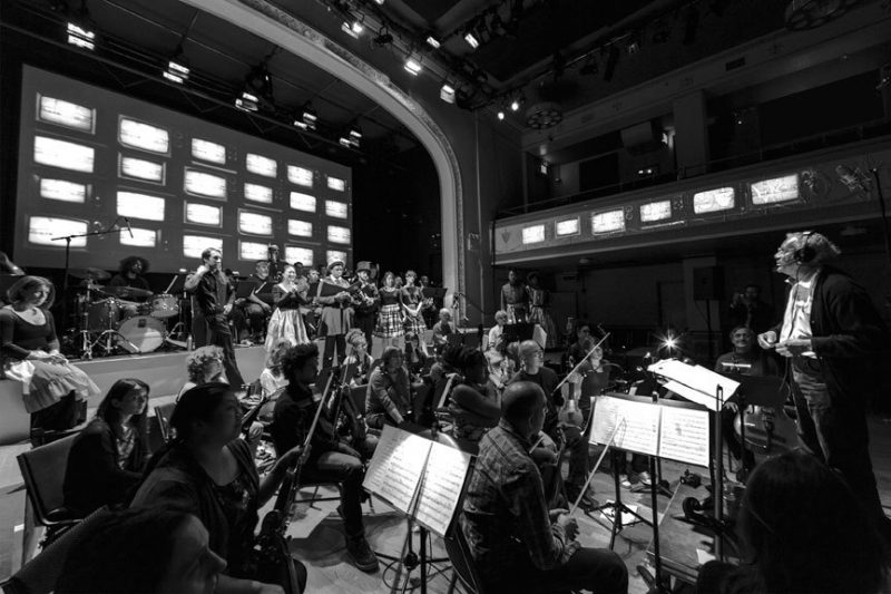 """Anthony Braxton conducts his opera """"Trillium J"""" at Brooklyn's Roulette in April 2014"""
