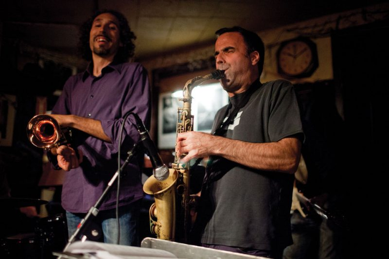 Dave Binney (right) with trumpeter John Daversa at NYC's 55 Bar in April 2014