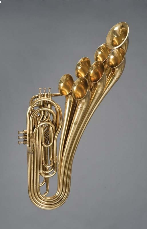 Brass instrument designed by Adolphe Sax in Paris, 1876. photo courtesy of the Musical Instruments Museum, Brussels