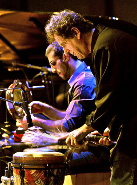 "Percussionists Jamey Haddad, foreground, and Tareq Rantisi perform with Haddad's ""Under One Sun"" project at the 2014 Tri-C JazzFest in Cleveland"