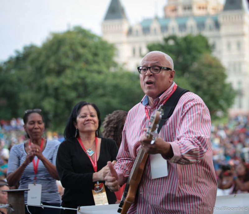 Urban Jazz Coalition leader Phil Raney plays out in the crowd at the Greater Hartford Festival of Jazz 2014
