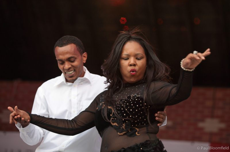 Alisa Bowens and Estifanos Habetmichael dance salsa at the Greater Hartford Festival of Jazz 2014