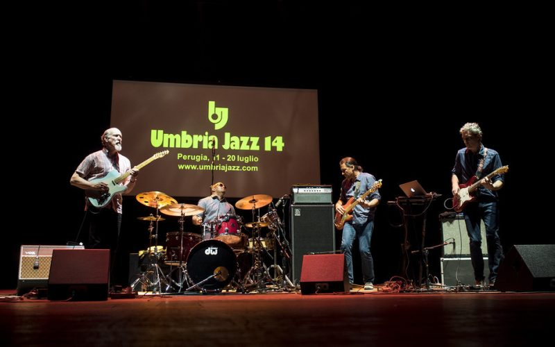 John Scofield, Terence Higgins, Andy Hess and Avi Bortnick (from left) at Umbria Jazz 2014