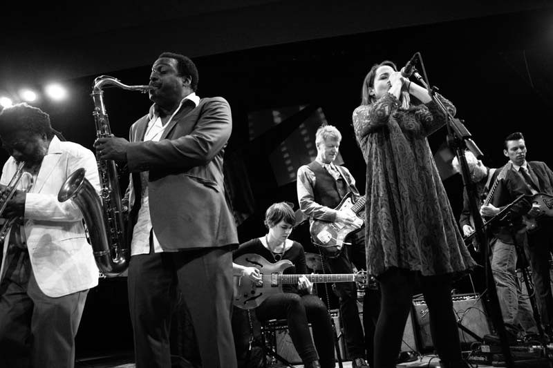 Wadada Leo Smith, David Murray, Kaki King, Nels Cline, Petra Haden, Marc Ribot and Jherek Bischoff (from left), Town Hall, NYC, May 2014. Courtesy Red Bull Music Academy