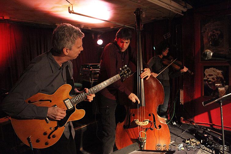 Steve Cardenas, Ben Allison and Jenny Scheinman (from left) at Winter Jazz Fest 2012
