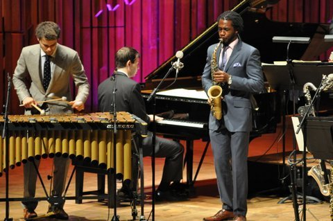 Lewis Wright, Dan Nimmer and Nathaniel Facey perform with The Jazz at Lincoln Center Orchestra at the Barbican Centre in London on July 2, 2014