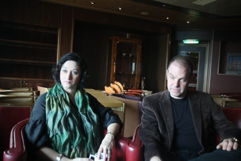 Renee Rosnes and Bill Charlap, during video interview on the Jazz Cruise 2012