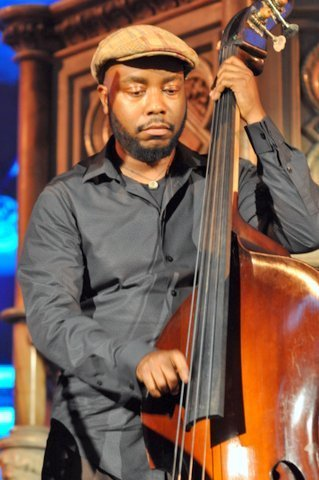 Bassist Ameen Saleem performing with Roy Hargrove and his quintet at London's Union Chapel on July 31, 2014