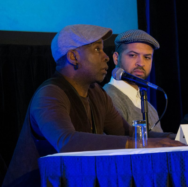 """Vernon Reid and Jason Moran on the """"Jazz in the Future Tense"""" panel, at Jazz Connect, NYC, Jan. 2014"""