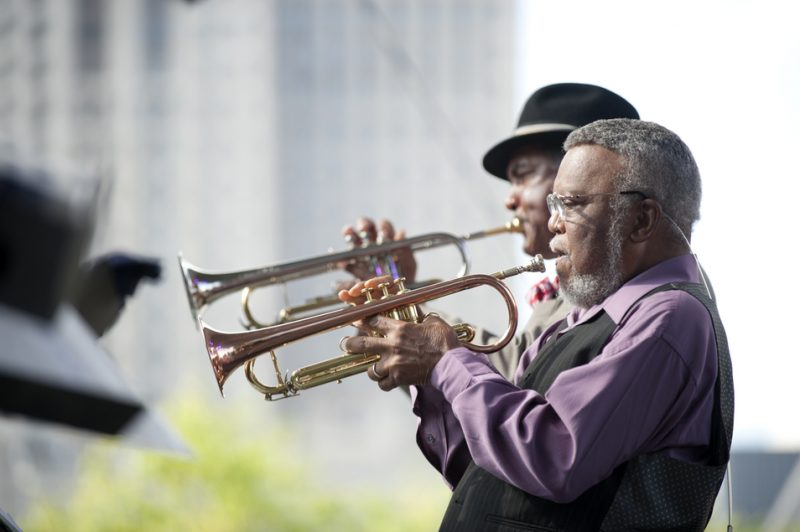 Wendell Brunious (back) and Marcus Belgrave, Detroit Jazz Festival 2014