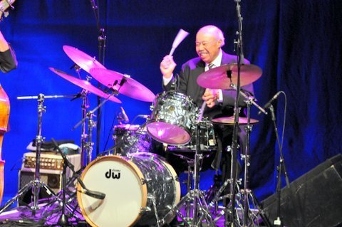 Drummer Harold Jones performing with at London's Royal Festival Hall in September 2014