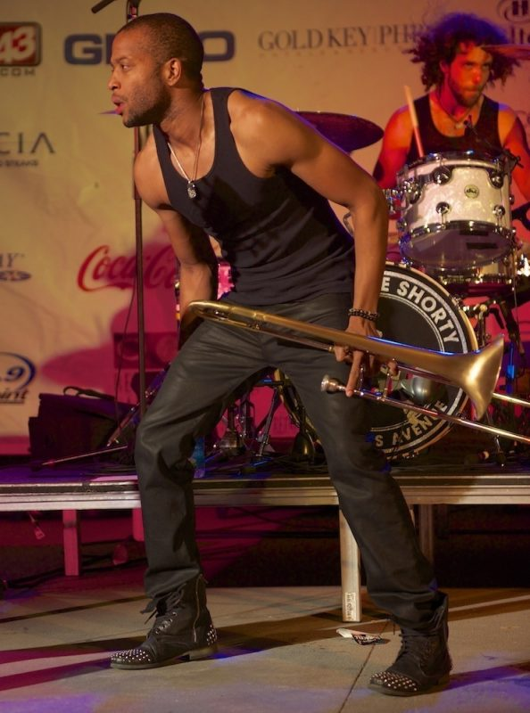 Trombone Shorty and Orleans Avenue in performance at Neptune Park in Virginia Beach