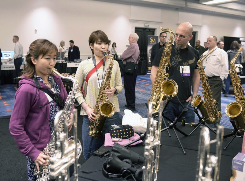 Jeff Coffin with students in exhibit hall at the Jazz Education Network conference, San Diego, 1-15