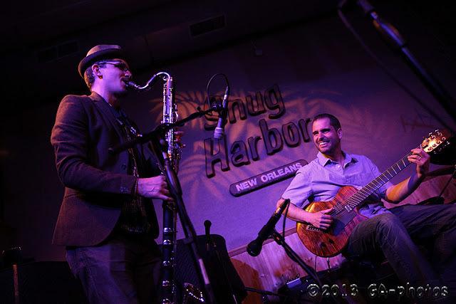 John Ellis (left) and Charlie Hunter at Snug Harbor, New Orleans, April 2013