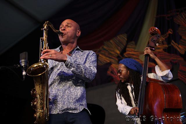 Joshua Redman (left) and Joe Sanders at New Orleans Jazz Fest 2013, Weekend One
