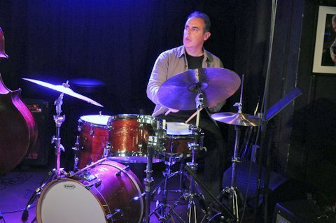 Drummer Stephen Keogh in performance with Ed Cherry at Pizza Express in London