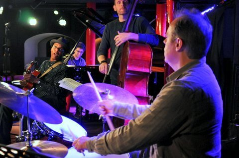 Drummer Stephen Keogh in performance with Ed Cherry Quartet at Pizza Express in London