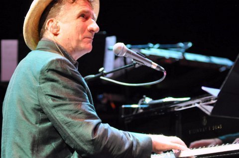 Pianist Jon Cleary in performance with John Scofield at the Barbican Centre in London