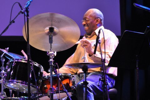 Drummer Alvin Queen in performance saluting Strata-East at the Barbican Centre in London