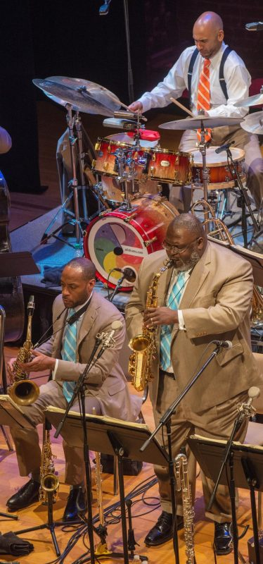 Walter Blanding, Wess Anderson and Ali Jackson with the Jazz at Lincoln Center Orchestra at the Attucks Theatre in Norfolk, Va.