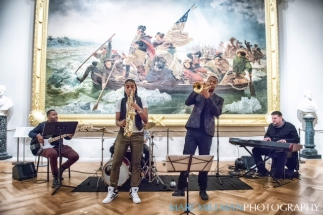 Lakecia Benjamin & Soulsquad: Benjamin (sax), Maurice Brown (trumpet), Eric Brown (drums), Brian Cockerham (bass), Aaron Swinnerton (keyboards) at Jazz & Colors, Metropolitan Museum of Art, NYC 1-15