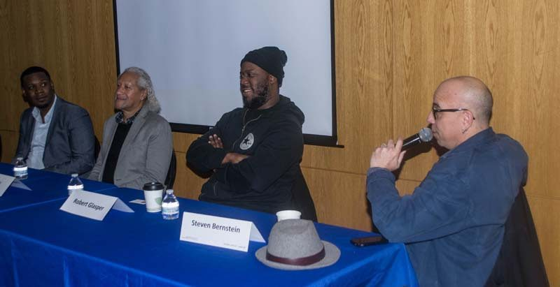 Keyon Harrold, Gary Bartz, Robert Glasper and Steven Bernstein (from left) at the Jazz Connect Conference, January 2016, NYC