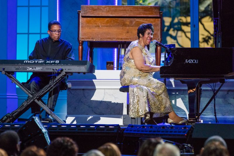 Herbie Hancock and Aretha Franklin perform in the International Jazz Day Global Concert at the White House; April 29, 2016